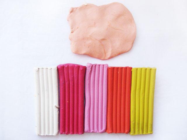 Как из пластилина сделать розовый цвет из